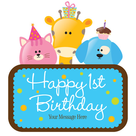 sheen: Isolated Happy 1st Birthday Sign Illustration