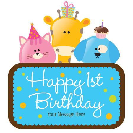 Isolated Happy 1st Birthday Sign Illustration