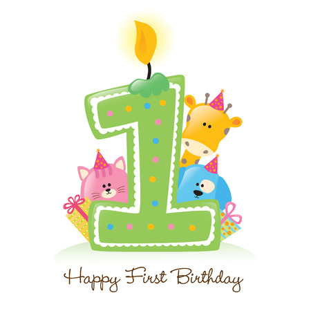 Happy First Birthday Candle and Animals (Isolated on white) Vector