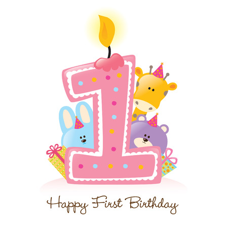 Happy First Birthday Candle and Animals (Isolated on white) Stock Vector - 4775883