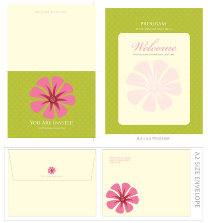 Special Event Templates (includes A2 invite with cropmarks & bleeds, A2 envelope setup and 8.5x5.5 program) Ilustrace