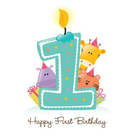 flusspferd: Erster Geburtstag Kerze mit Tieren (mehr im Portfolio) Illustration