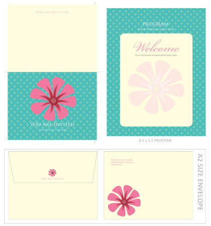 Special Event Templates (includes A2 invite with cropmarks & bleeds, A2 envelope setup and 8.5x5.5 program) Vettoriali