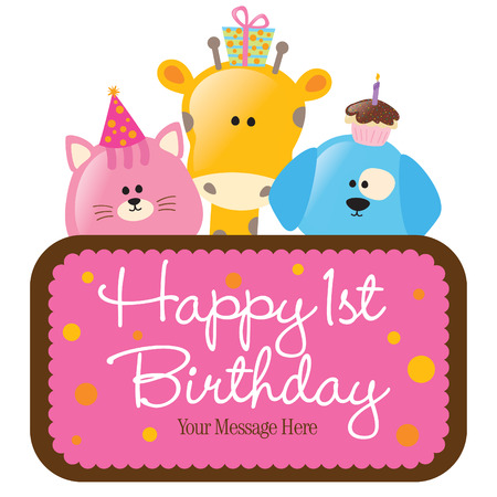 Vector Isolated Birthday Animals with Sign  Vector
