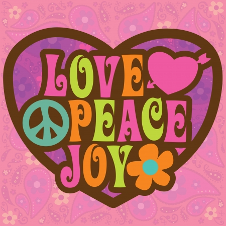 peace and love: Seventies Love Peace Joy Design Vector (more in portfolio) Illustration