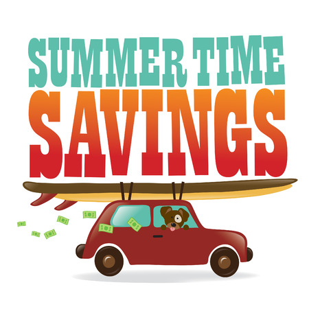 cash book: Summer Time Savings Graphic Illustration
