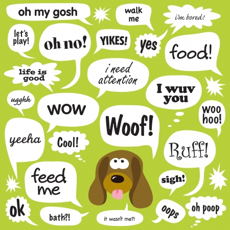 droopy: Various Phrases in comic bubbles Illustration