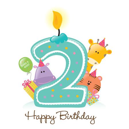 Happy Birthday Candle e Animali isolati su bianco Archivio Fotografico - 5260214