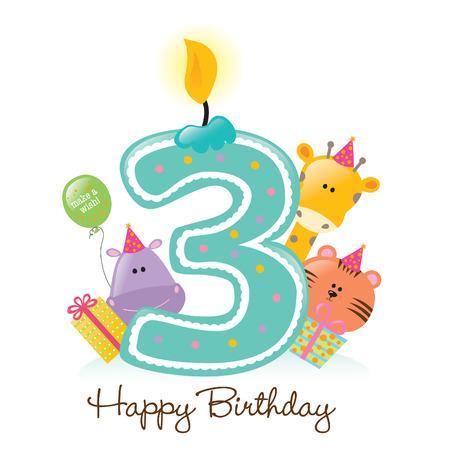 Happy Birthday Candle e animali isolati su bianco Archivio Fotografico - 5260212