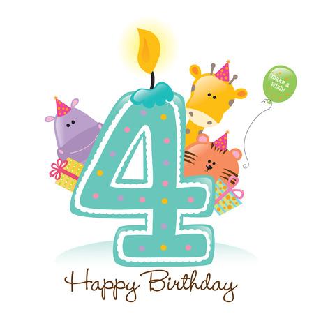 Happy Birthday Kerzen und Tiere auf weißem Freigestellt Standard-Bild - 5260216