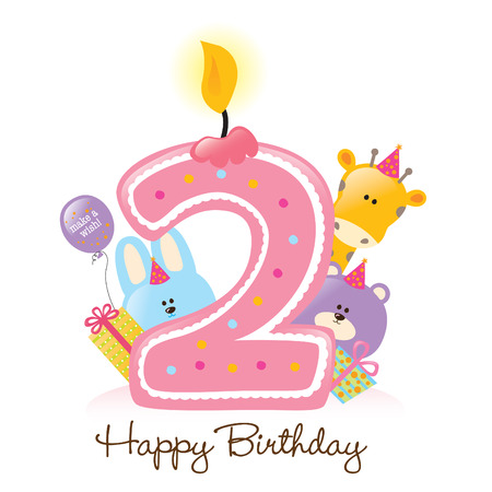 Happy Birthday Candle and Animals Isolated on white Illustration