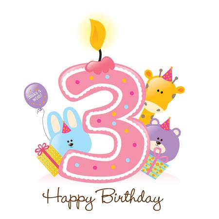 Happy Birthday Kerzen und Tiere auf weißem Freigestellt Standard-Bild - 5260211