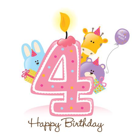 Happy Birthday Candle e animali isolati su bianco Archivio Fotografico - 5260215