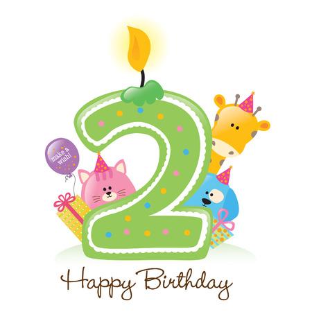 Happy Birthday Candle e animali isolati su bianco Archivio Fotografico - 5300033