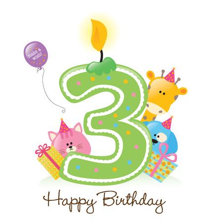 happy birthday baby: Feliz Cumplea�os vela ya los animales aislados en blanco Vectores
