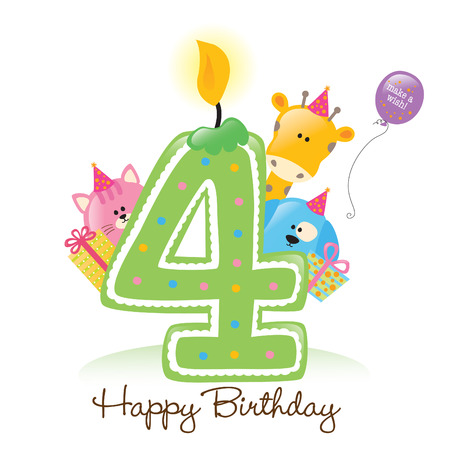 number of animals: Happy Birthday Candle and Animals Isolated on white Illustration