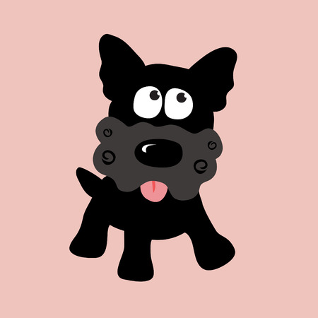 Black Curly Yorkie Illustration