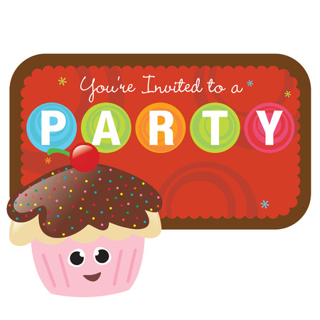 Isolated cupcake with sign Illustration