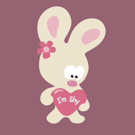 Shy Valentine Bunny Vector