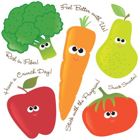 funny fruit: Mixed fruits & vegetables set 2  Illustration