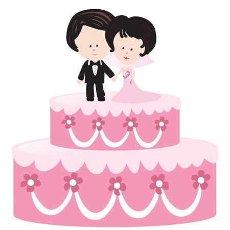 Geïsoleerde Wedding Cake met Bruid en Bruidegom Stock Illustratie