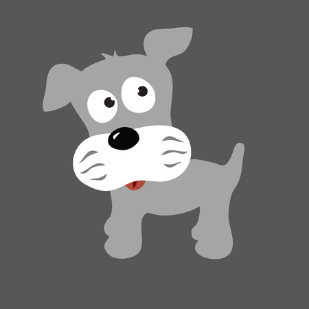 gray cards: Schnauzer Puppy Illustration