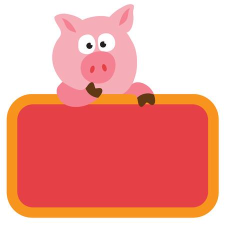 Isolated Swine Holding Sign