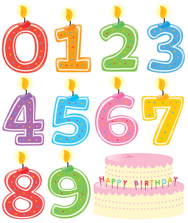 gateau bougies: Num�rot�es Birthday Candles and Cake Illustration