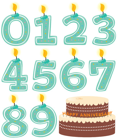 Numbered Candle Set and Cake Vector