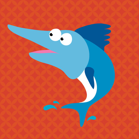Blue Marlin with Background Vector