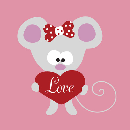 Valentine Little Mouse with Big Heart Vector