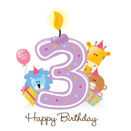 分離された動物と誕生日の蝋燭