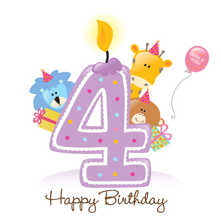 Birthday Candle with Animals Isolated Vector