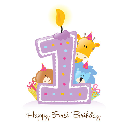 first birthday: First Birthday Candle with Animals Isolated Illustration