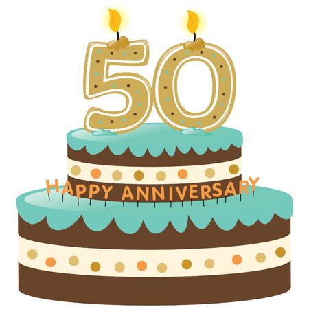 촛불로 만든 50 주년 기념 케이크 일러스트