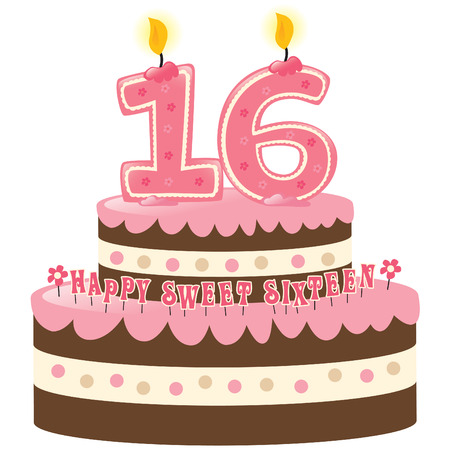 Sweet Sixteen Birthday Cake with Numeral Candles Vector