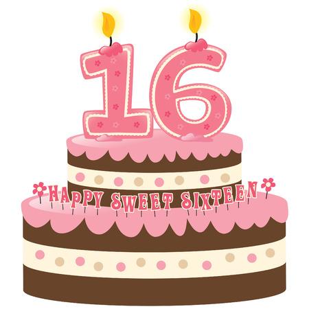 Sweet Sixteen de tarta de cumpleaños con velas Numeral Foto de archivo - 5528939
