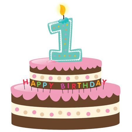 torta compleanno: Happy First Birthday Cake con Candela Vettoriali