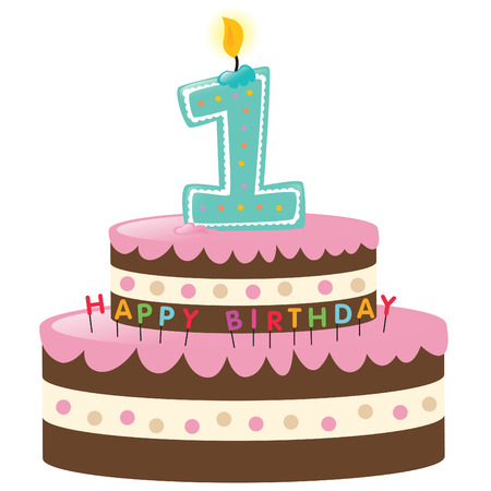 Happy First Birthday Cake with Candle Stock Vector - 5528895