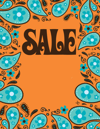 8.5x11 Seventies Style Sale ShellPoster Template  Illustration