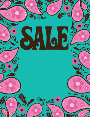 seventies: 8.5x11 Seventies Style Sale ShellPoster Template  Illustration