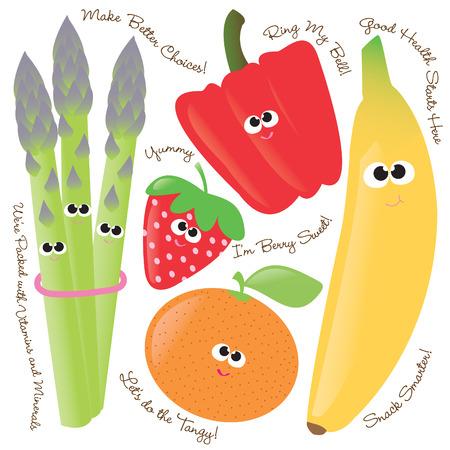 funny fruit: Mixed fruits & vegetables vector set 1