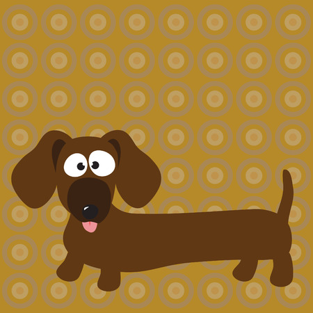 dachshund (hot dog) dog & background  Illustration