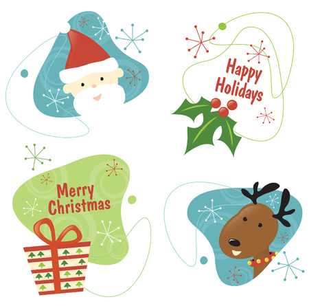 Retro Christmas Set 1 Isolated Vector