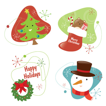 50S Chritmas Set 2 Isolated Vector