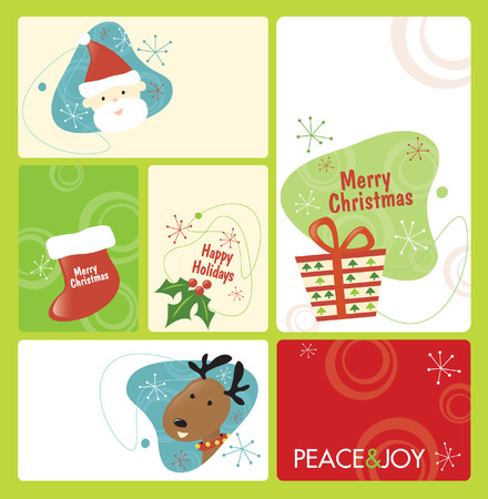 Retro Christmas Tag Set 1 Vector