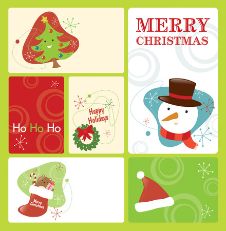 Retro Christmas Tag Set 2 Vector