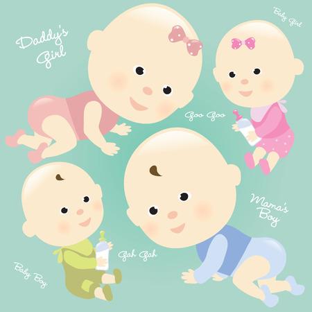 baby crawling: Beb�s conjunto aislados Vectores