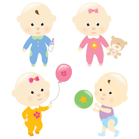 throwing ball: Baby Set 3 Isolated Illustration