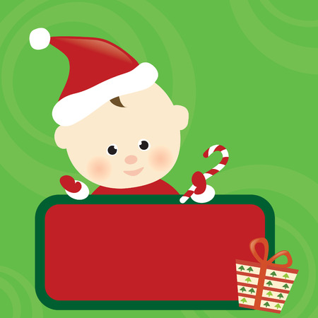 Christmas baby holding sign Vector